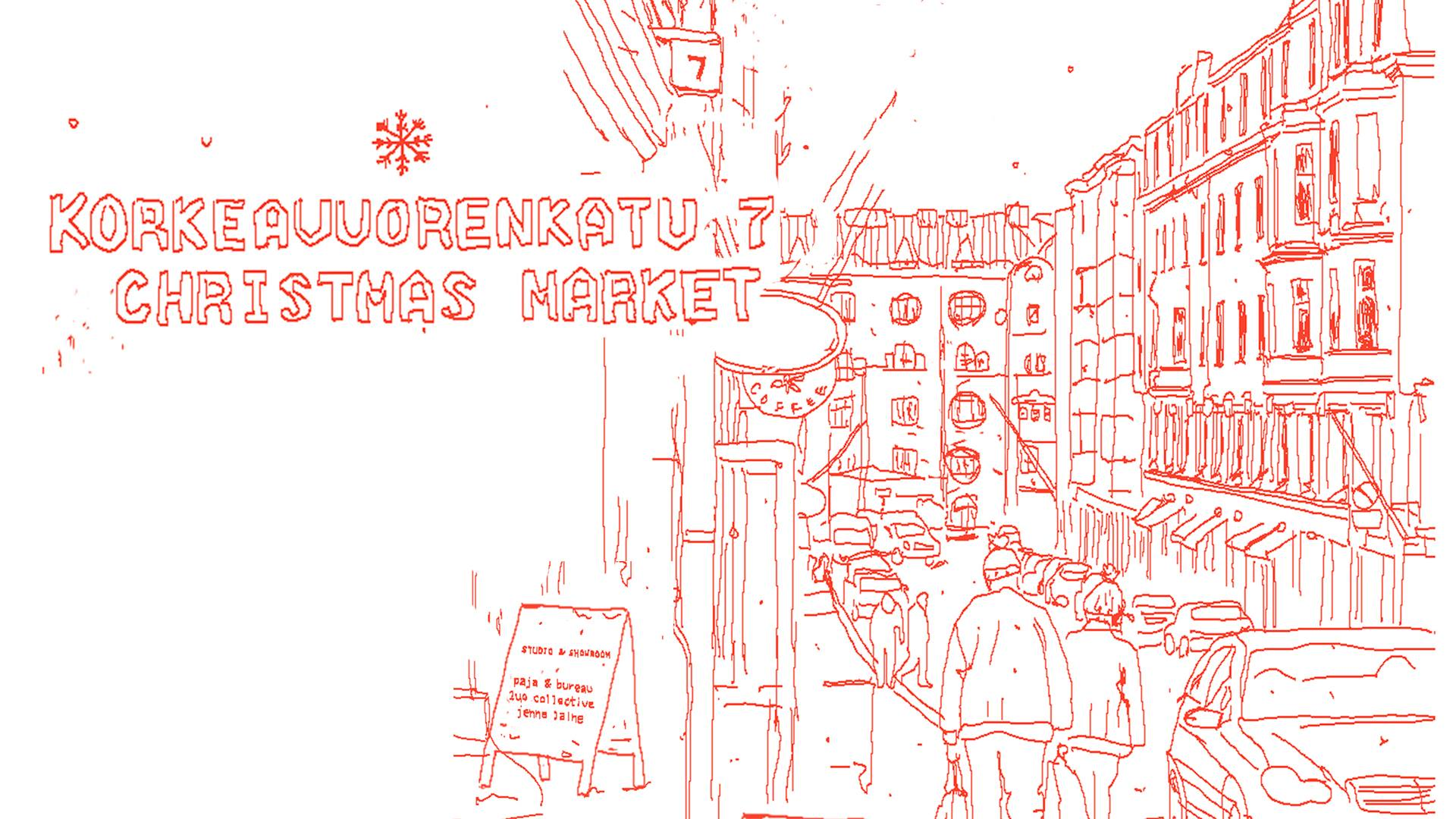 Welcome to the Korkeavuorenkatu 7 Christmas Market. The market expands this year to a two-day event so welcome on both Saturday and Sunday! 11.00-16.00. Featuring: Paja&Bureau, Annika Cumlander, By Laura Darth, Lillan Helsinki, Ossi Jaala, Lieko Design, Satu Närkki, Kultaseppä Linda Rantanen, Rauhala Koru, Studio Jenna Laine, Anni Pitkäjärvi,  Heidi Aulikki , Ariane Relander, Hanna Särökaari and others. We will release more info on the sellers closer to the dates. Music will be provided by Creat's #eroticlifestyle DJs. Glogg and gingerbread will be served! Entrance through the inner courtyard.  See Facebook event here.