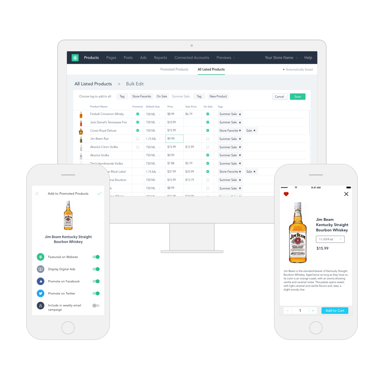Sellr Desktop bulk edit screen, Sellr Mobile promoted products screen, Shoppr product detail