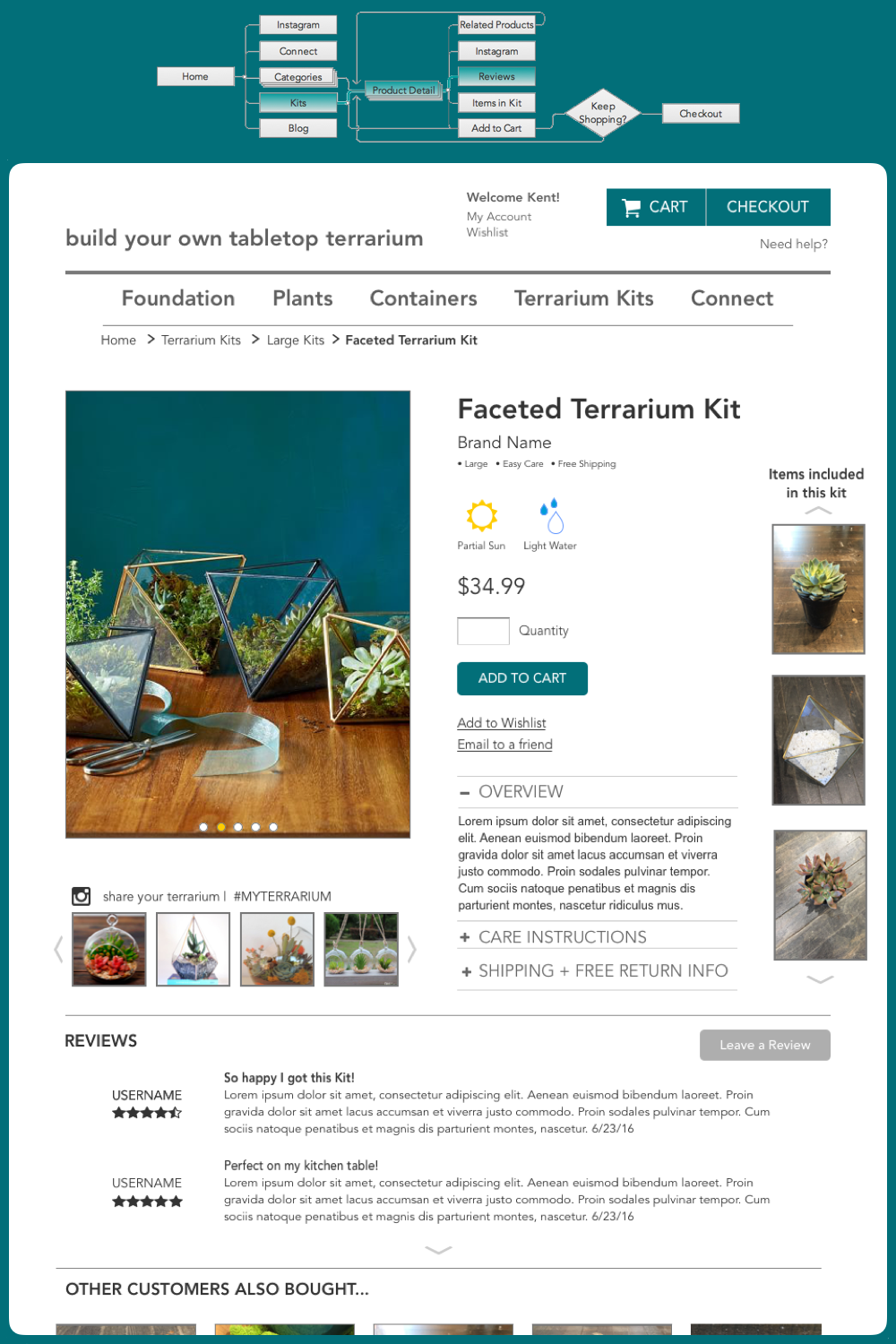 - From here he narrows down the options to large terrarium kits, he finds the faceted terrarium kit and gets more information.  He can see the items that come with the kit, shipping and return information, and the Instagram feed of what other people have made with this exact kit. He reads the product reviews and decides to go for it.