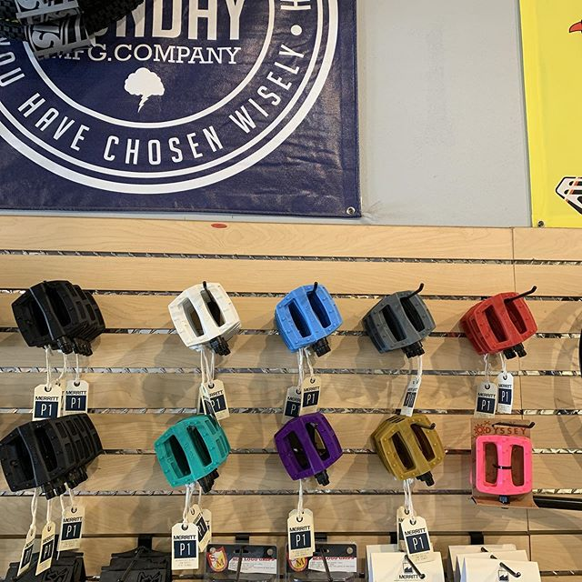 @merrittbmx in stock all colors P1 pedals #fletcherbikestudio #bmx #pedal #houston