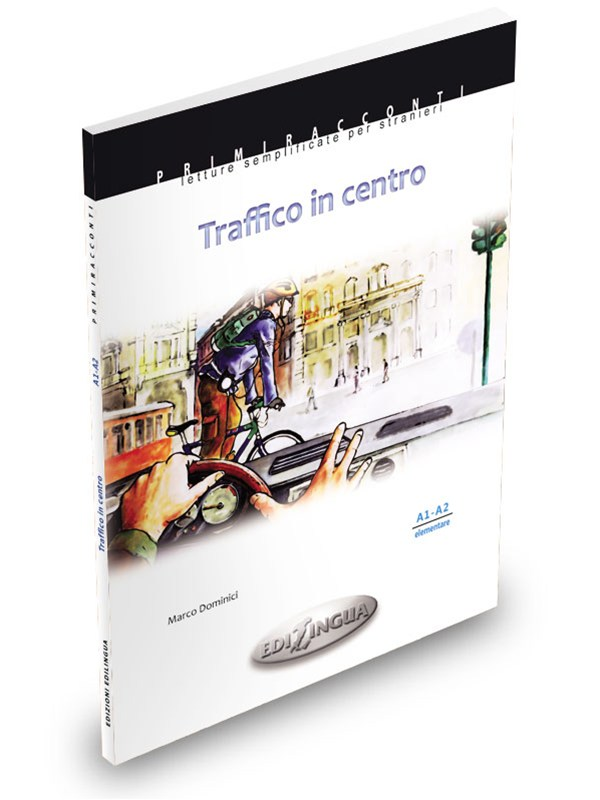 """TRAFFICO IN CENTROM. Dominici Easy readers for foreigners. Elementary level (A1-A2)On a warm September morning, George (a university Law student) and Mario (a known and serious lawyer) have a chance encounter / car crash at an intersection in the center of Milan. For George, Mario is the image of what he aspires to be when he """"grows up"""", on the other hand, for Mario George is the image of his past as cheerful and carefree boy, now a distant memory. Can a car accident become the occasion for a new friendship? - PRICE: CAD 18.50 +hstN.1 available"""