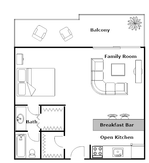 Studio with Open Kitchen and Breakfast Bar