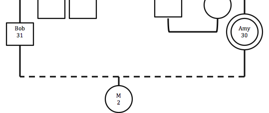 Figure 2: How to mark an unmarried couple, living together    Note:   Males are represented by squares, and females are represented by circles. Males are always on the left, and females are always on the right. As you see more of Amy's genogram, you'll see why this is important.
