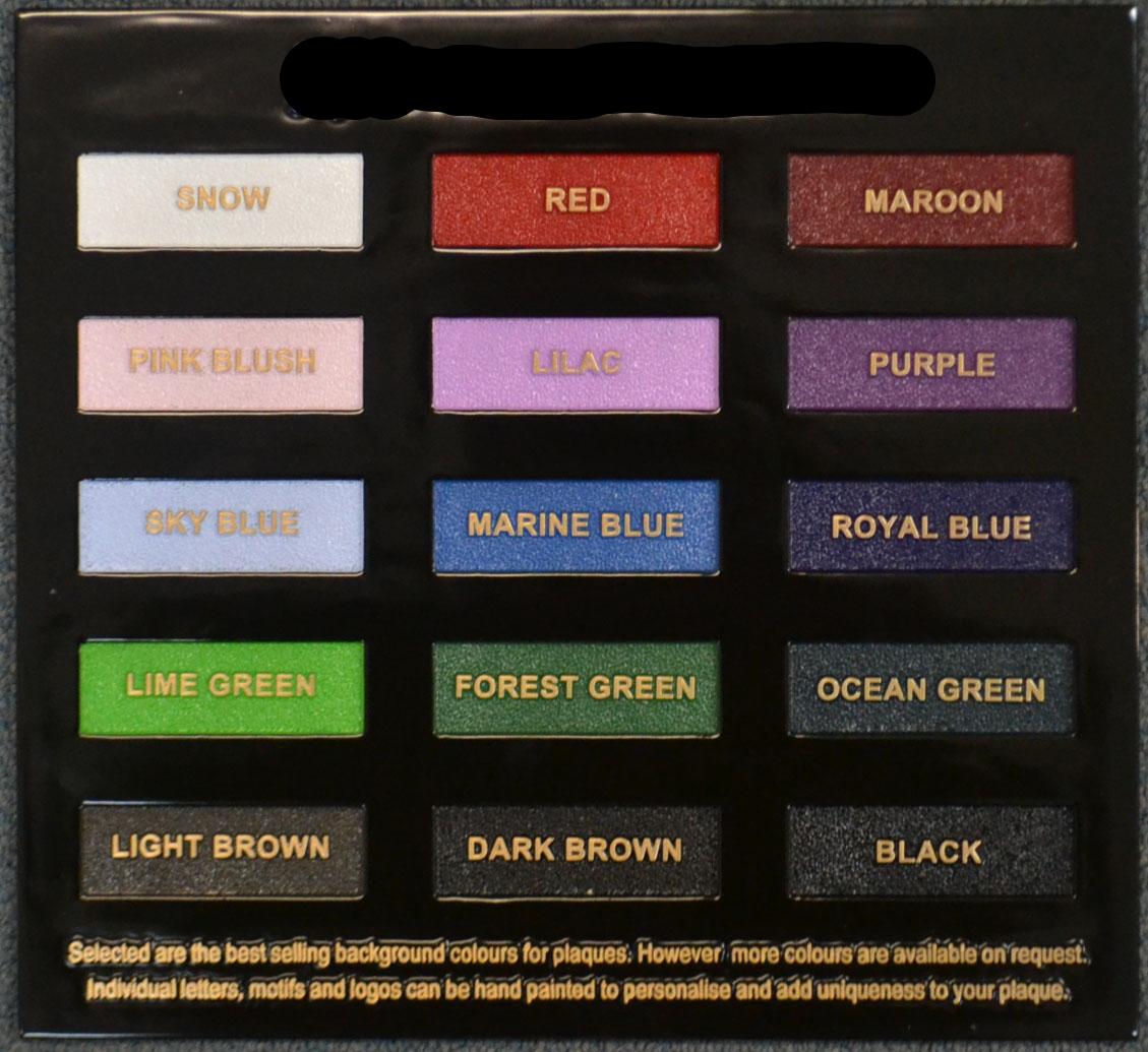 Bronze Plaque Colour Chart