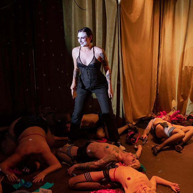 """The last time I was on a stage covered in """"dead"""" bodies was during an opera! (Can you guess which one?) Such a blast hosting @fishnetfollies The Garter Room this month (pictured here with the FF Chorus """"Saloon Shootout"""") - I'm back again *with my band* on SEP 5 for some Weimar cabaret-inspired goodness - check the Fishnet Follies website for tickets. Photo: @kyracarouse #doriandietrich #fishnetfollies #kabarettdekadenz #cabaret #burlesque #emcee #showgirl"""