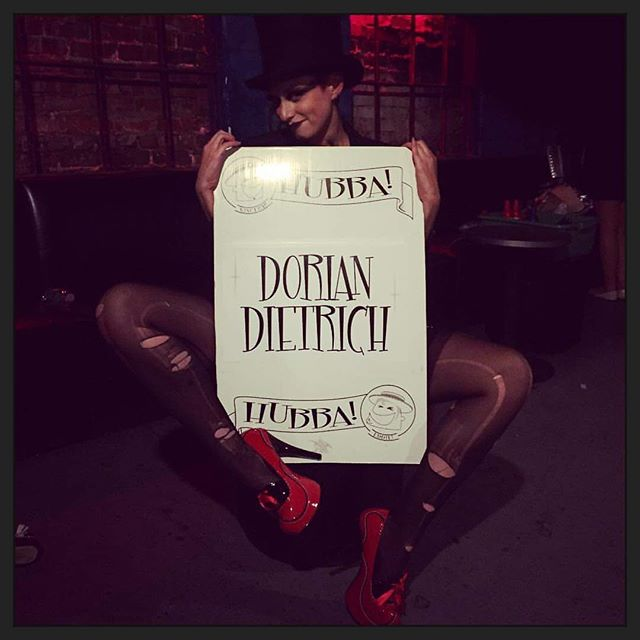 That feeling when you performed on the @hubba_hubba_revue stage for the first time! #tbt to August 2016 when I made my Hubba Hubba debut in the pre-show. 💜 #doriandietrich #fishnetfollies #burlesque #showgirl #heels #legsfordays #weimarvamp