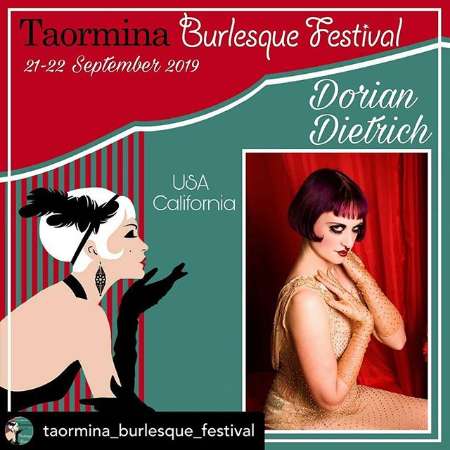 "Still can't believe I'm going to Sicily in less than a week! 😍 Posted @withrepost • @taormina_burlesque_festival L'artista che vogliamo presentarvi oggi arriva dagli USA dallo stato della California e più precisamente da San Francisco. Offre performance deliziosamente decadenti, spesso caratterizzate dalla sua sensuale marca di spogliarello canoro e gioco di genere. È la forza creativa de ""Wunderkammer Kabarett"" e ""Kabarett Dekadenz"", due produzioni di cabaret ispirate alla sua estetica da cabaret Weimar. Lei è Dorian Dietrich e si esibirà il 22 Settembre 2019 per il Gala Show.  The artist we want to introduce you today comes from the US from the state of California and more specifically from San Francisco. It offers deliciously decadent performances, often characterized by its sensual brand of singing striptease and genre play. It is the creative force of ""Wunderkammer Kabarett"" and ""Kabarett Dekadenz"", two cabaret productions inspired by his Weimar cabaret aesthetic. She is Dorian Dietrich and will perform on September 22nd 2019 for the Gala Show.  #taobf2019 #taorminaburlesquefestival #taorminaeventi #taormina #burlesquedancer #burlesqueshow #burlesquefestival  #Burlesque"