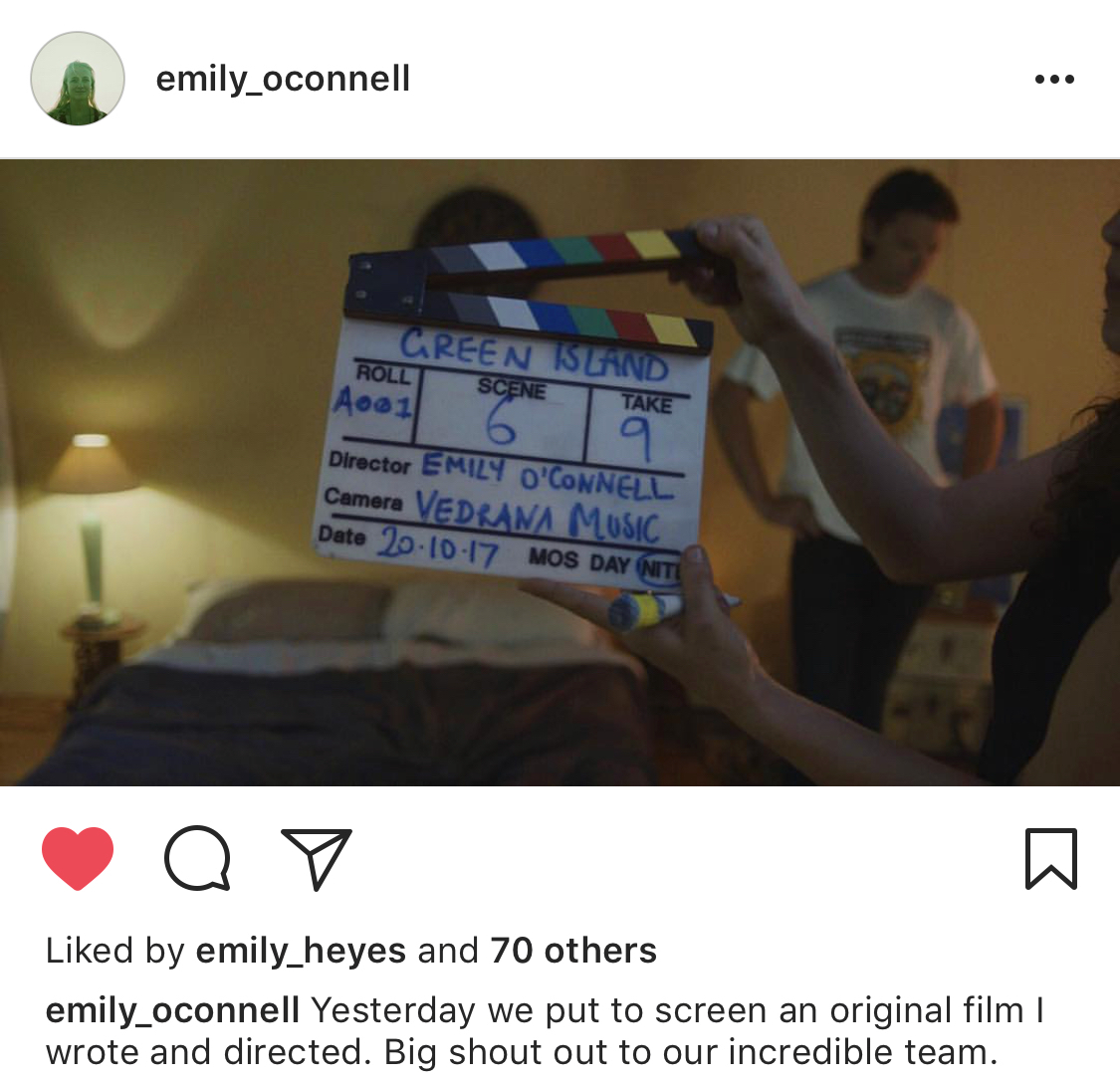 Instagram post from director Emily O'Connell.