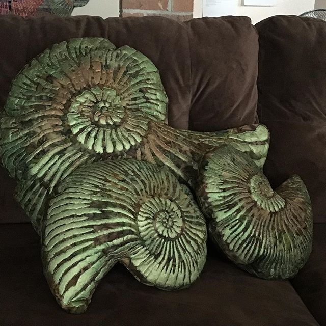 Cool ammonite pillows now available in my Etsy shop! #ammonite #fossils #pillows #fiberarts #quilted #etsy #etsyseller #artpillows