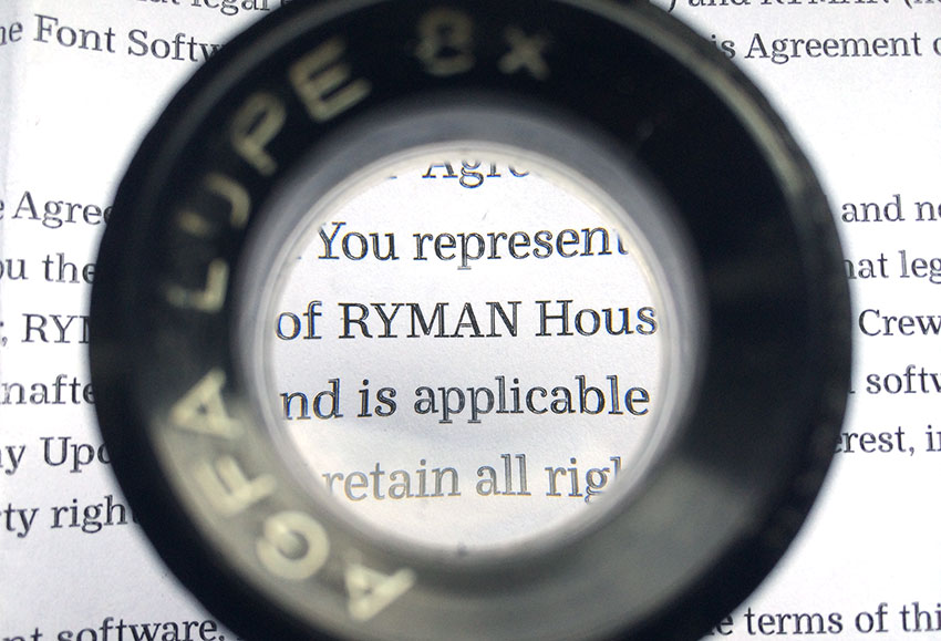 Ryman Eco, used on the EULA, printed and seen through the loupe.