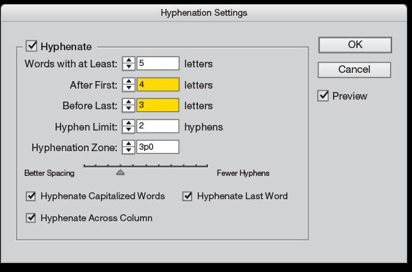 Hyphenation palette InDesign