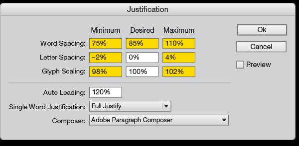 Justification palette InDesign