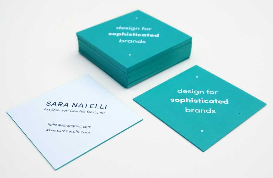 Sara's printed business cards.
