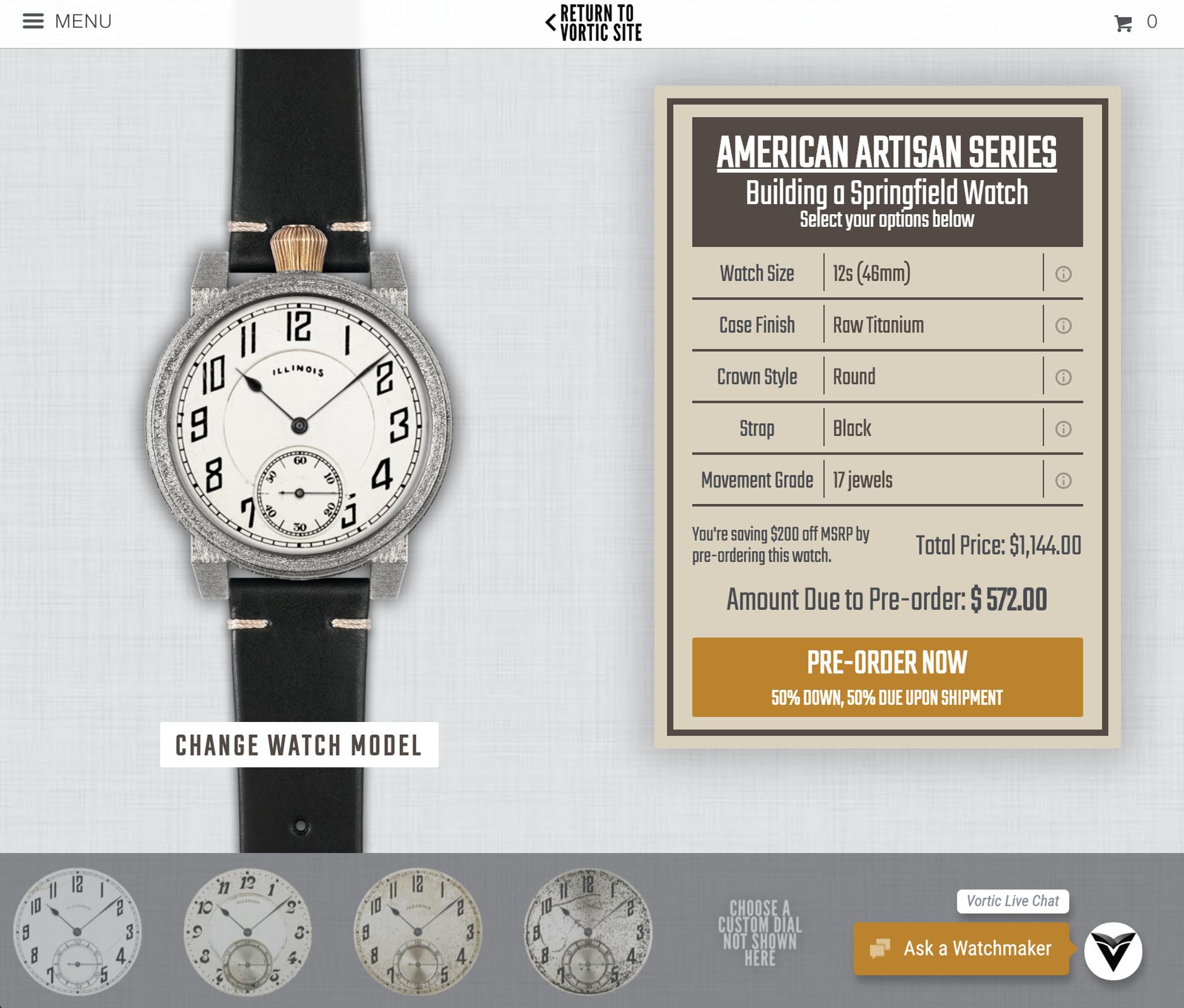 Vortic Watch Builder American Artisan Series.png