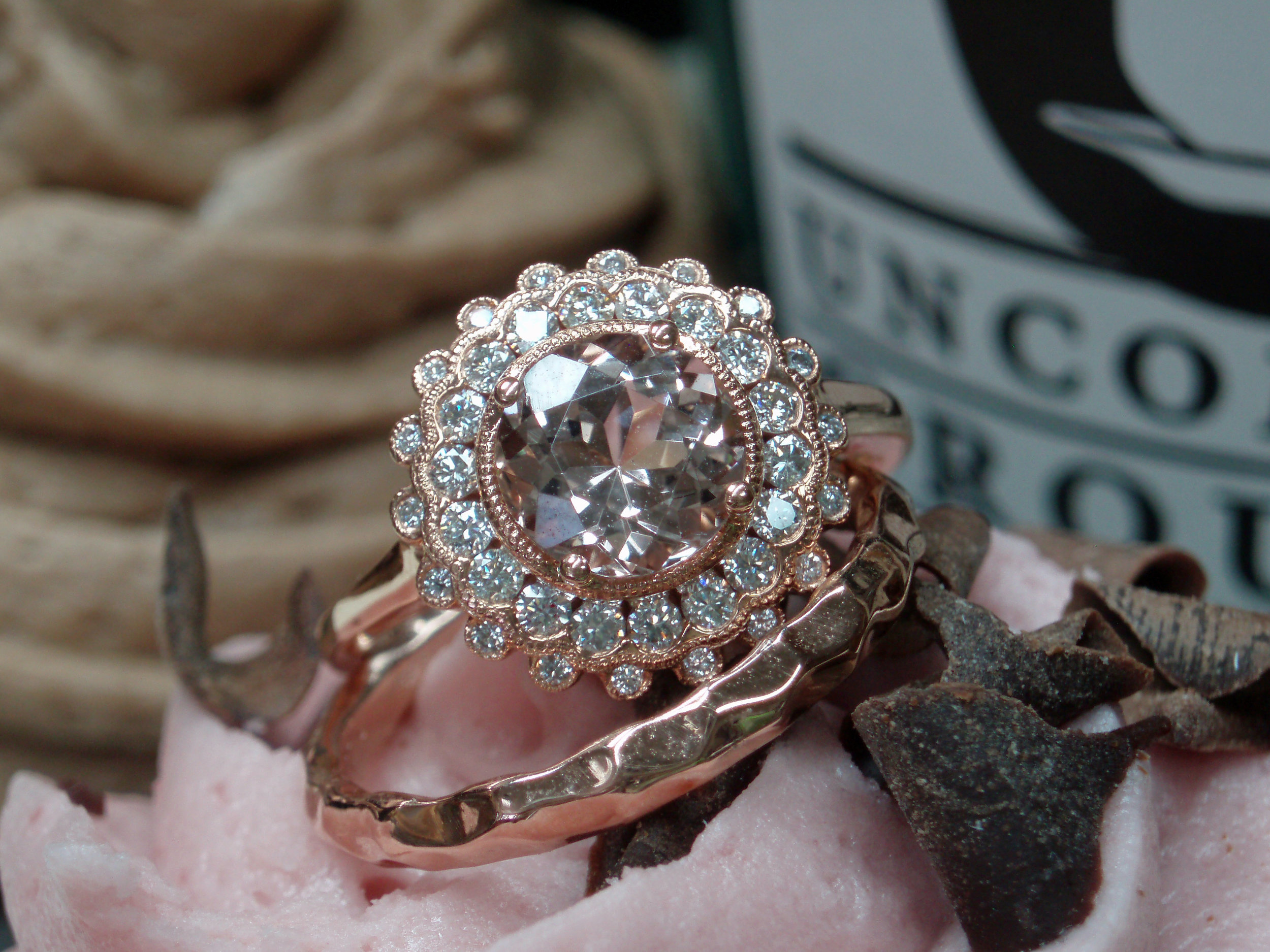 Madison L Diamond and Morganite ring set in 14k Rose Gold (pictured with our hammered 14k Rose Gold band)
