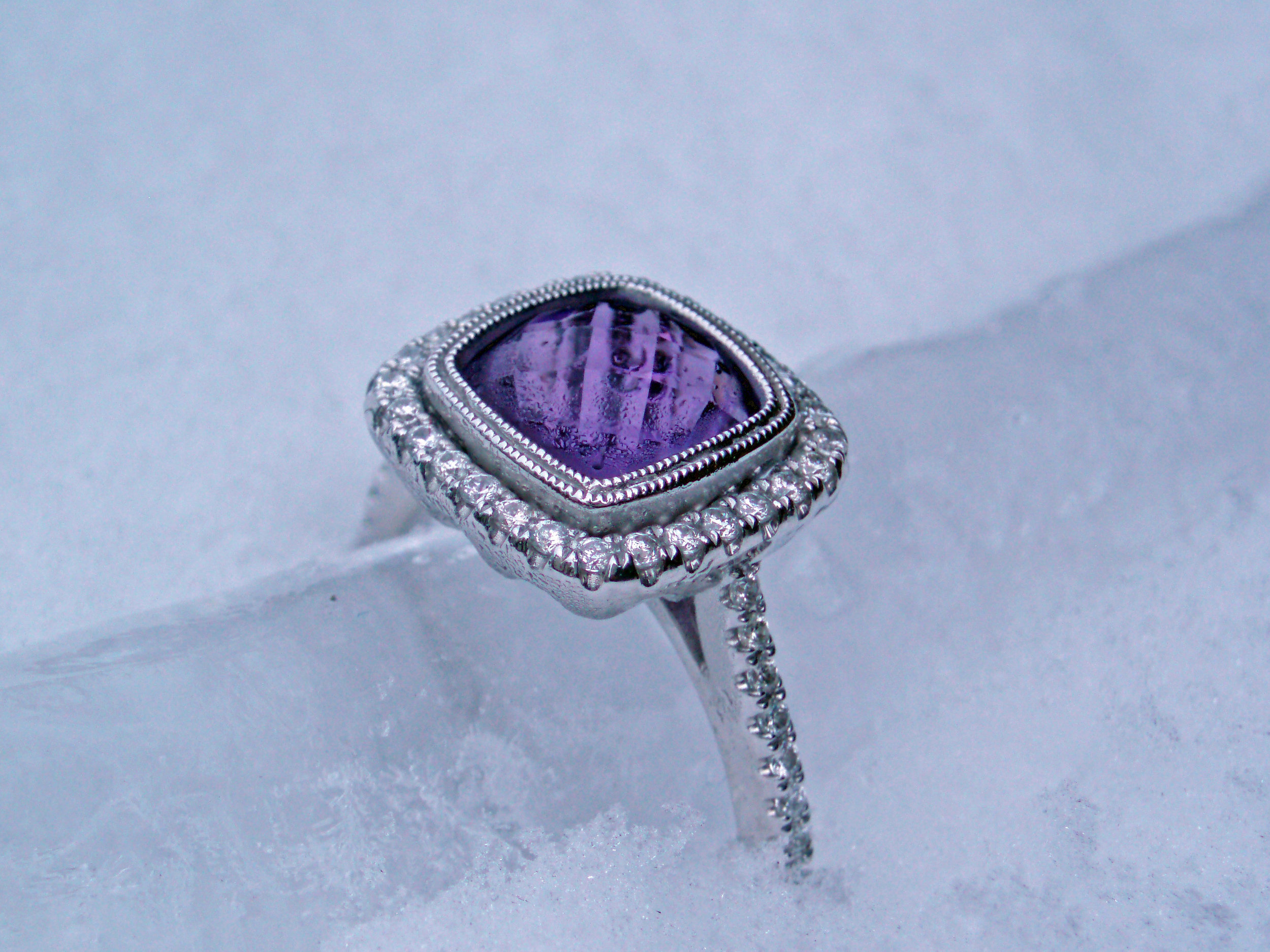 Madison L 14k White Gold Ring with checkerboard cut Amethyst and Diamond halo