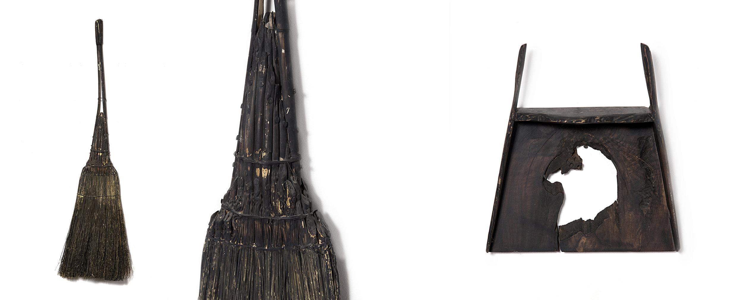 "untitled black broom  (with detail), broom corn, nails, tar,50""x14""x2"", 2015;  dustpan with hole , wood, milk paint, 13""x11""x3"",2014"