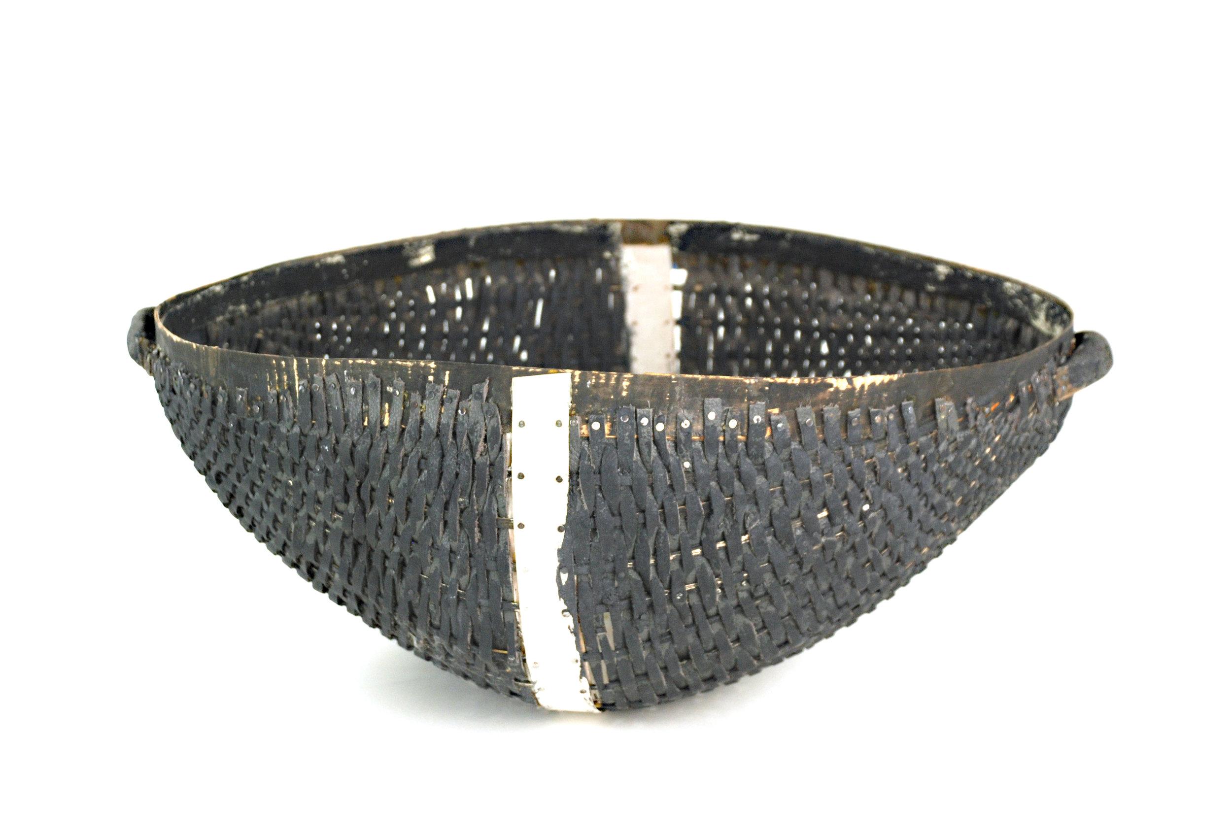 "black handled basket , leather, milk paint, nails, wood, 7.5""x19""x16"", 2017"