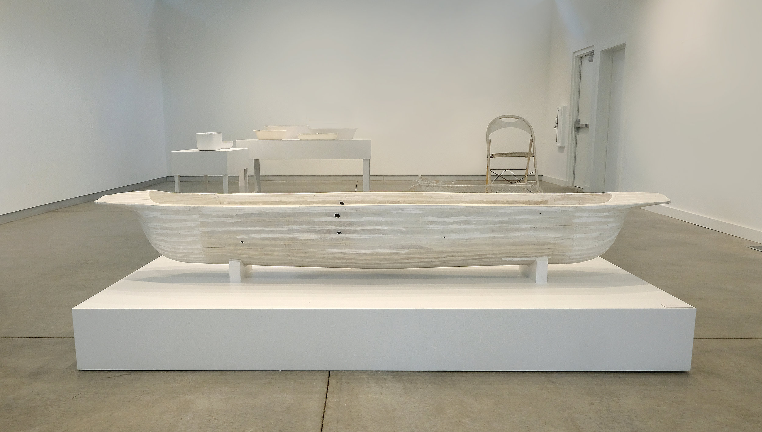 """wash trough with lines , wood, nails, spackle, milk paint, 20""""x103""""x15"""", 2018"""