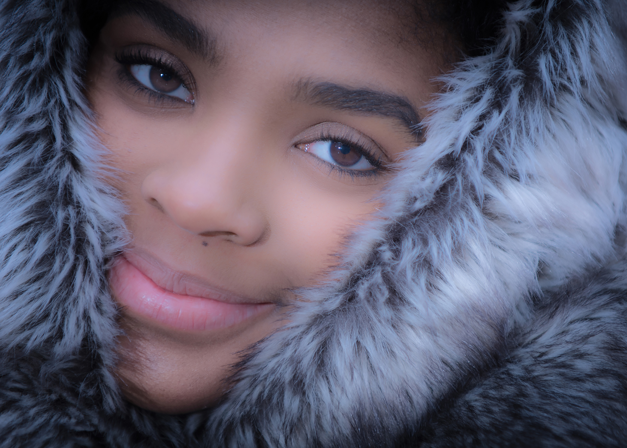 High Senior Wrapped in Faux Fur Throw Portrait
