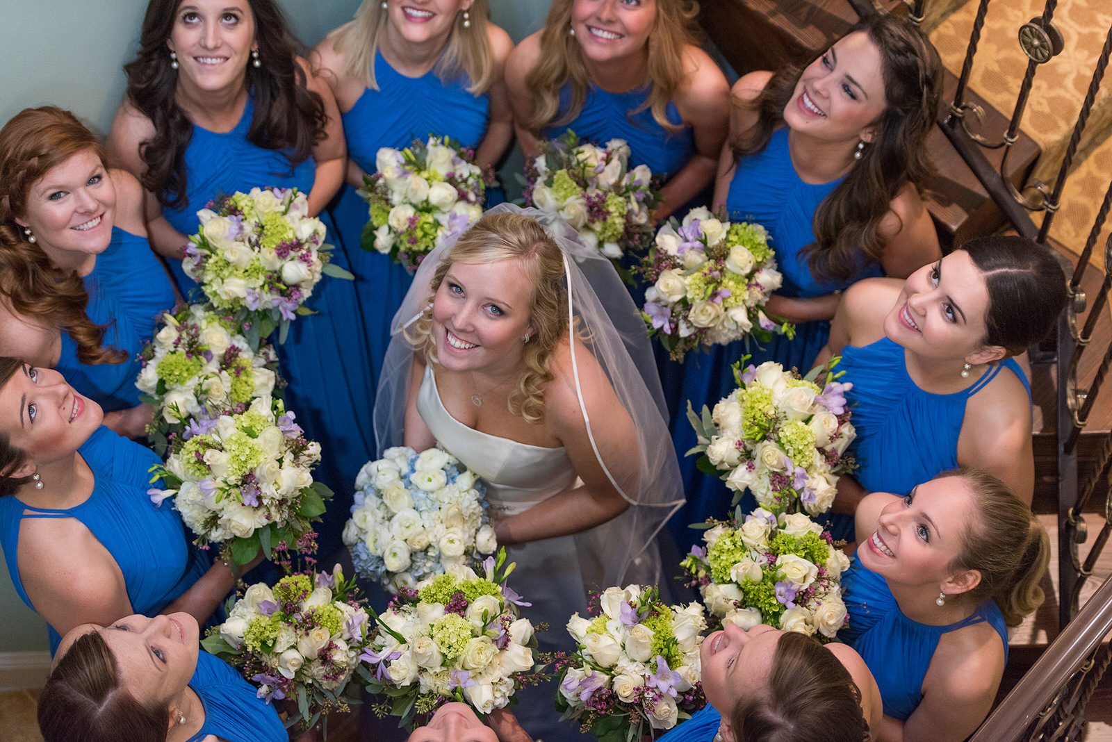 Smiling Bride surrounded by Bridesmaids at Ponte Vedra Inn, Florida