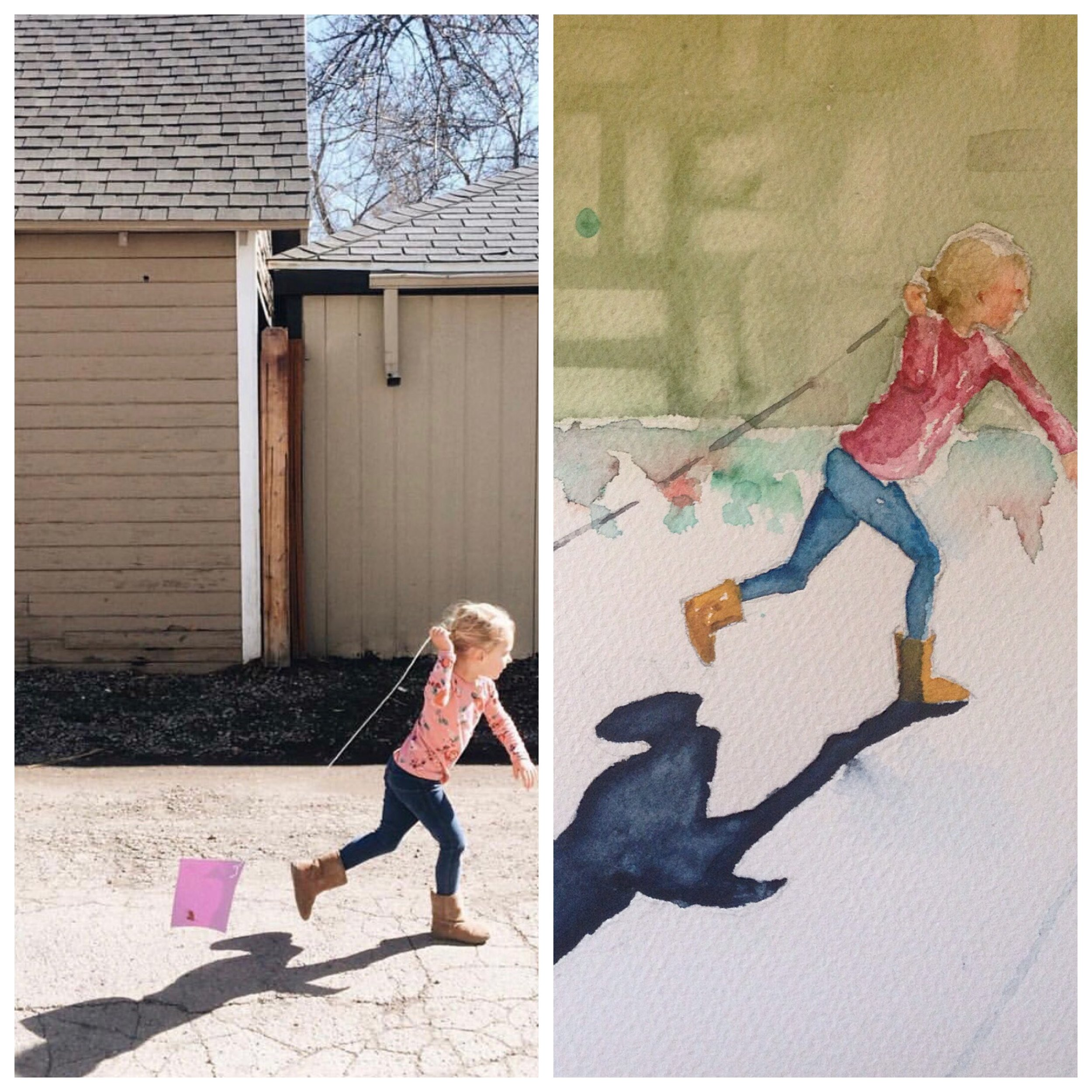 Here is an example of a reference photo and the changes I made to the background on the final watercolor. The background can be changed in almost every image if the lighting is good.  Ivy's Kite ©PamBaumeister, 2015