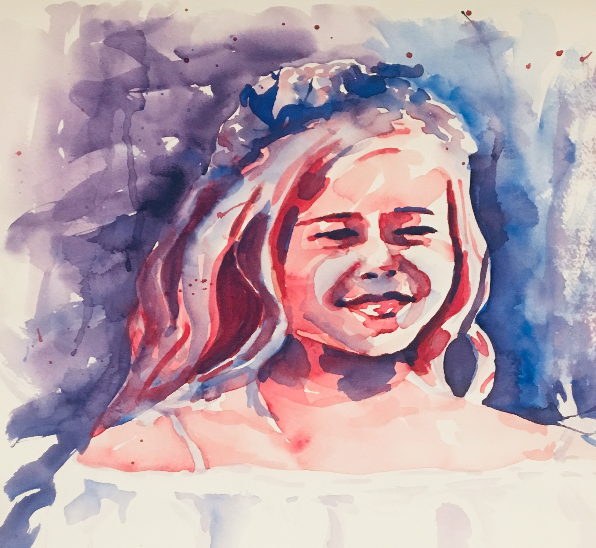 A quick watercolor of my youngest daughter that helps me remember a special day for our family.