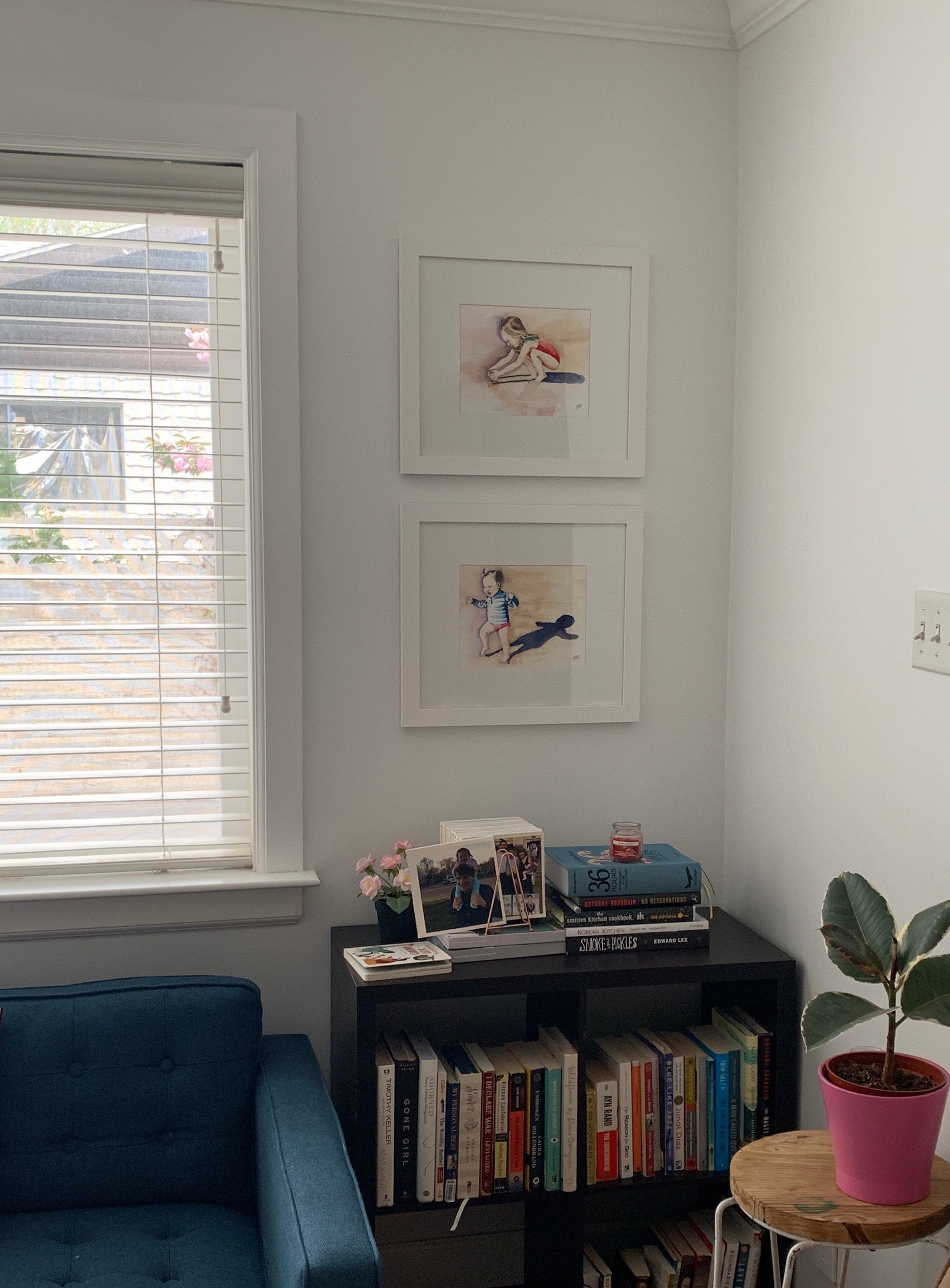 This is how one of my collectors chose to display the  personalized art  I created of his two young daughters.