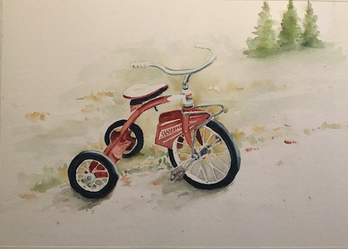 An original or print with an image that symbolizes childhood. Add this  Tricycle art  to your chlld's room.