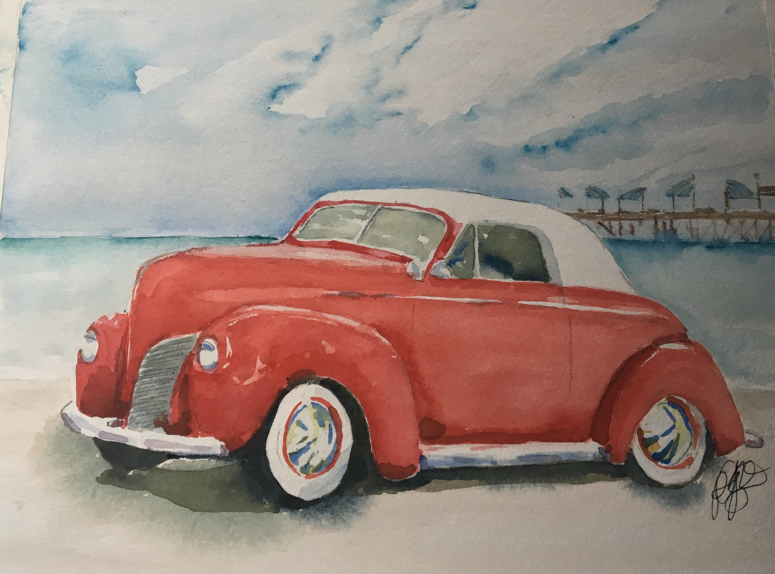 "Final painting for Debra Fasullo, called ""1940 Mercury"" © Pam Baumeister, 2019."