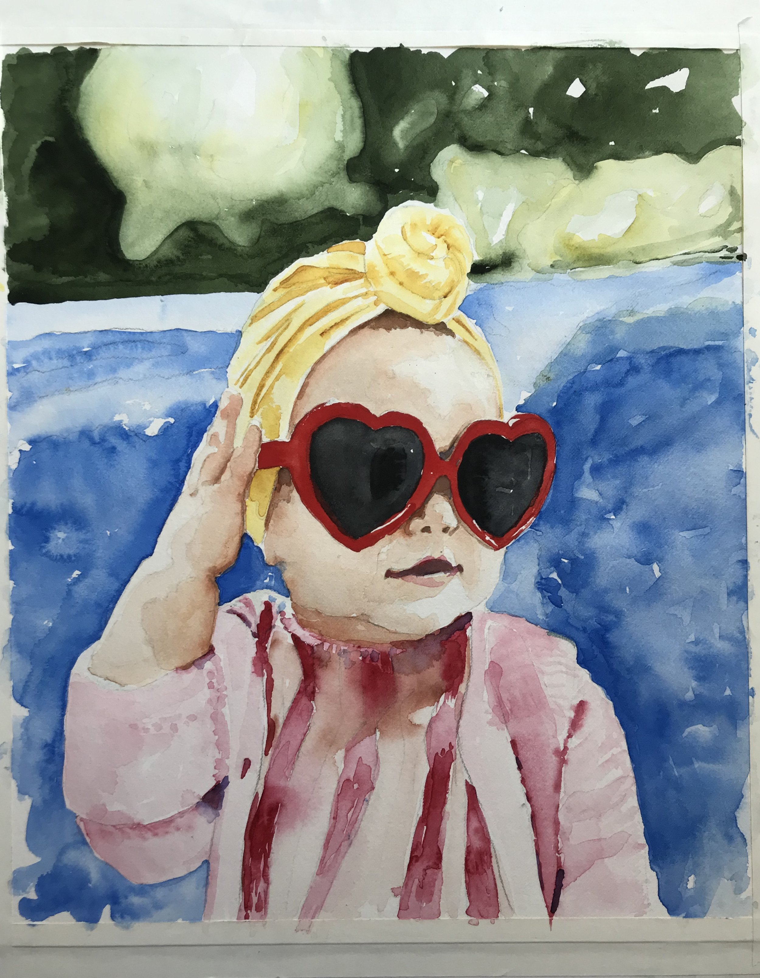 This commissioned painting illustrates the bold personality of this little girl.