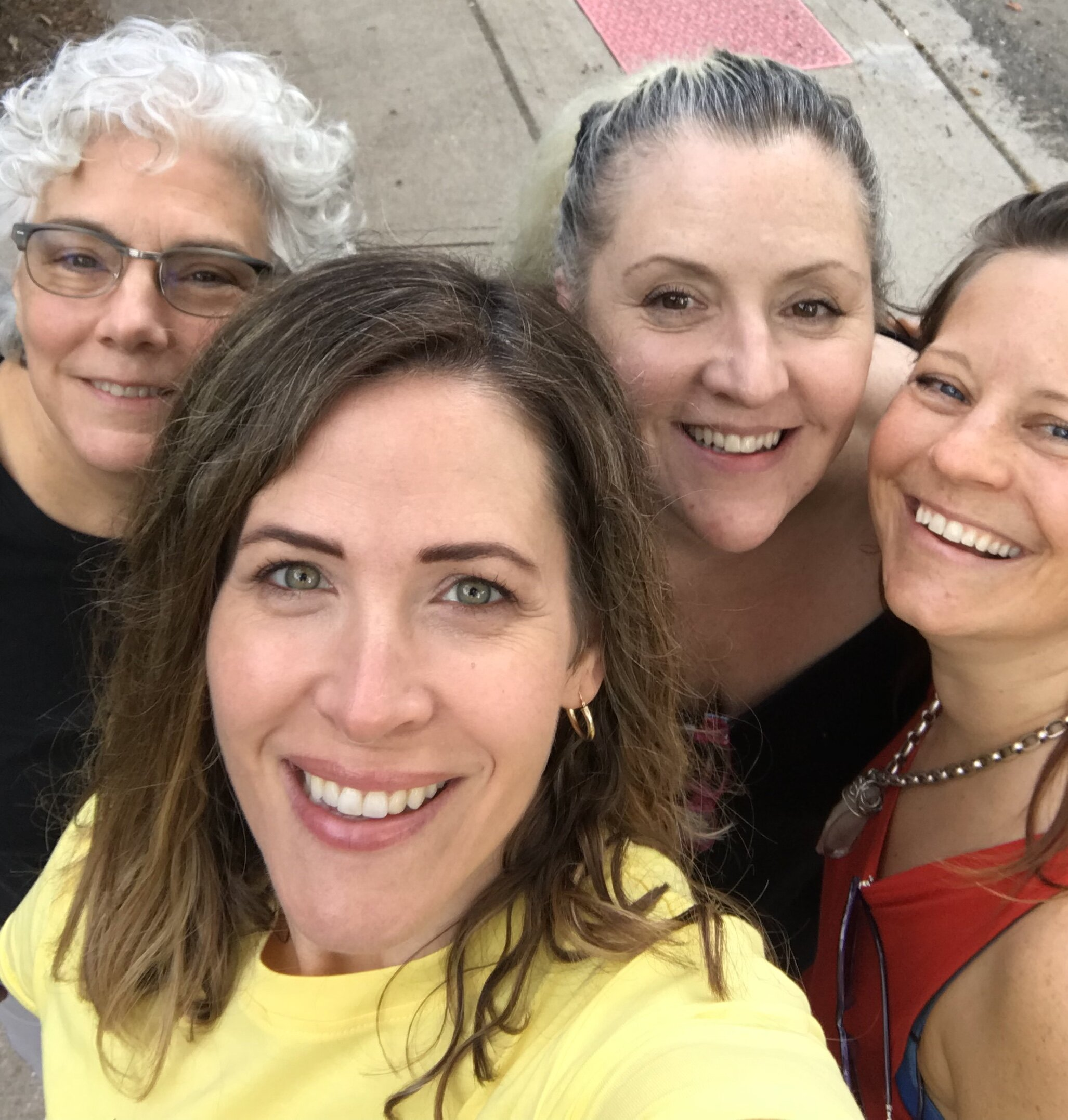 Here I am during an artist mastermind weekend with three of my artist support system. These women are amazing artists and have been key in helping me grow my art business.