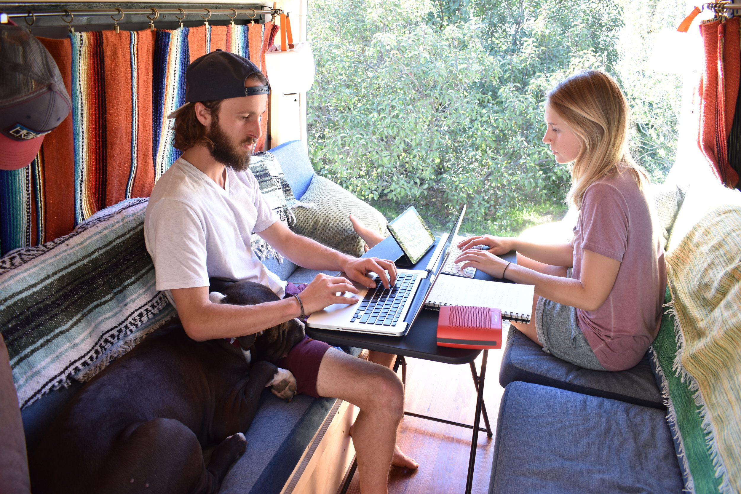 Digital nomads working hard on our van conversion eBook.