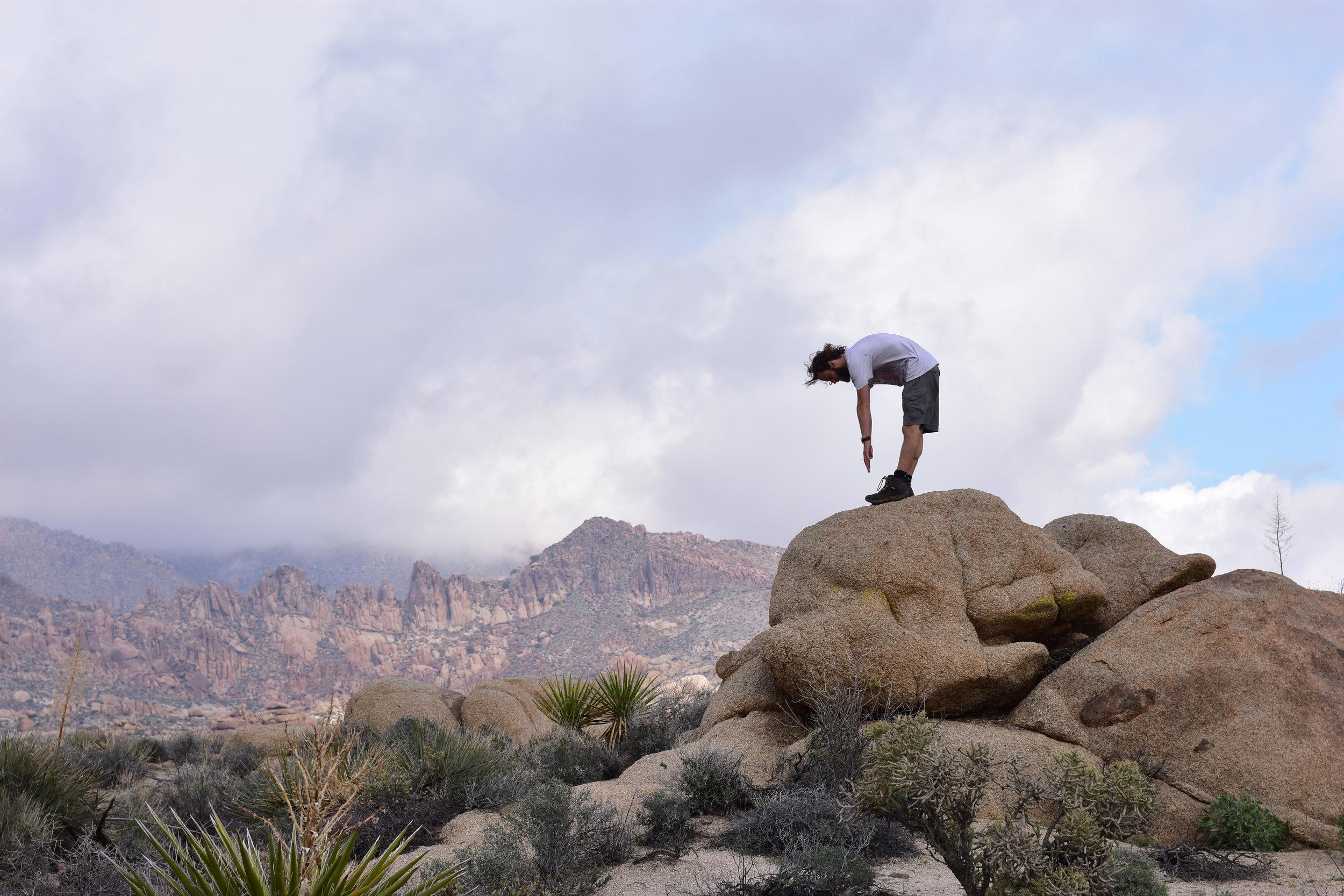 Pete does bad yoga - Joshua Tree National Park