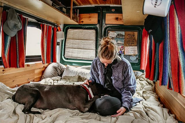 We can't help but find it funny that we had a much bigger bed in the van than we do in our house right now 😆 #bigbed #tinyhome . #vanlife #homeiswhereyouparkit #campervan #sprintervan #vanlifers #adventuremobile