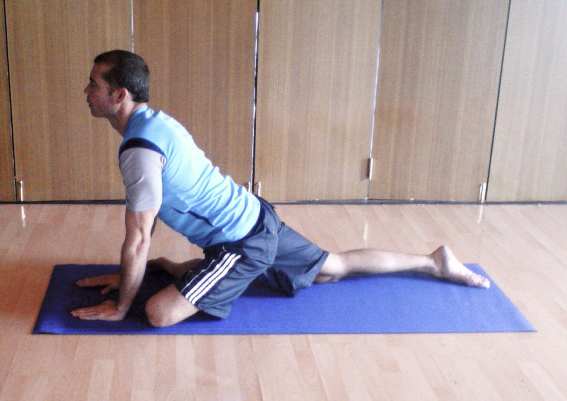 Glutes stretch - Begin on all fours. Place one foot underneath and across the trunk.Keep the pelvis straight and extend the other leg straight back behind the trunk.Hold the stretch for 40 seconds, then slowly return to the starting position.Aim to complete 3 repetitions.