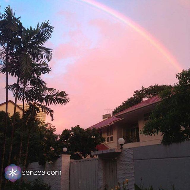 A sense of wonder 🌈 . Rainbows are fascinating… none of them are alike and we all see their colours differently. . What is on the other side of the rainbow ? I bet that on the other side… ✨ . This one appeared on my way home, in Bangkok, what a beauty... . . #beauty #sky #nature #wonder #rainbow #wellbeing #pink #Bangkok #Sukhumvit #senzea