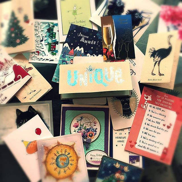 It is time to say goodbye to my wonderful cards, I will put a beautiful ribbon and they will join my boxes of wishes.  I feel blessed by the unconditional love of my friends and family, they made me laugh and feel like this one card said, unique. Wishes from France, Canada, California. So simple, so easy and yet so powerful 💪🏻♥️ Thank you my friends and I'll definitely send another batch of cards next year!! . . . #friends #cards #love #ilovemyfriends #unique #randomactsofkindness