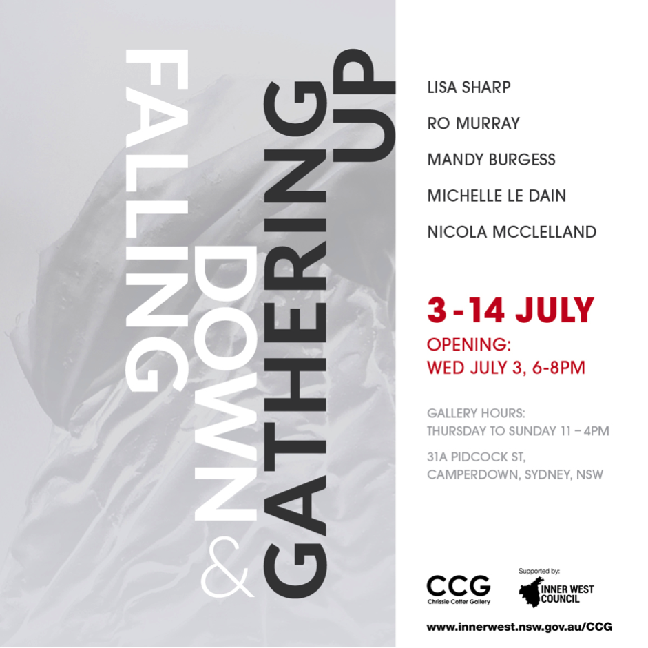 Five artists come together to reflect through their art on what it is to be living in these rapidly changing and seemingly unstable times, in a visual 'falling down' and 'gathering up'. Unified by concept, differing materials, processes and approaches are used to narrate the rhythms of falling, then rising, leading to contemplations on resilience and community. The works range from fragile paper drawings, enigmatic sculptural objects, large graphic installations, colour constructions and performance.