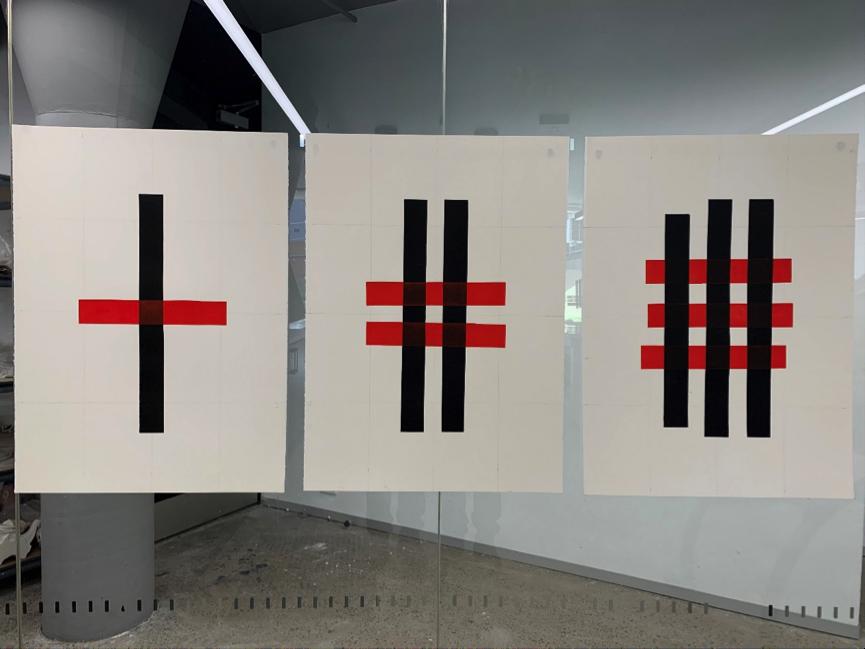 Main gallery:  Black Vertical and Red Horizontal  (lino print series)