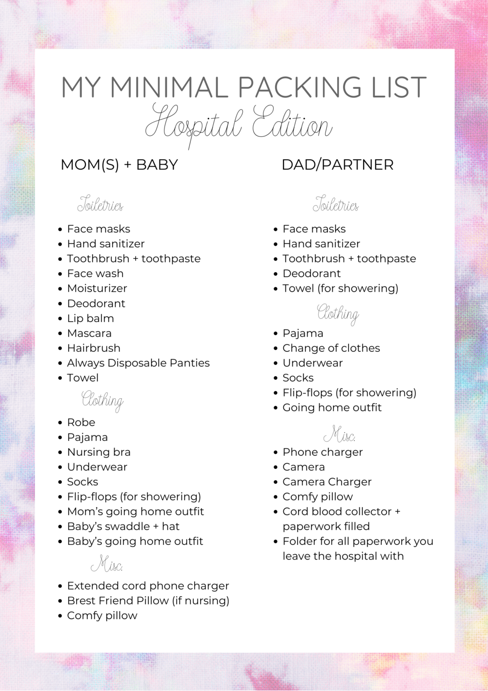 What to Pack in your Maternity Hospital Bag Minimal Edition