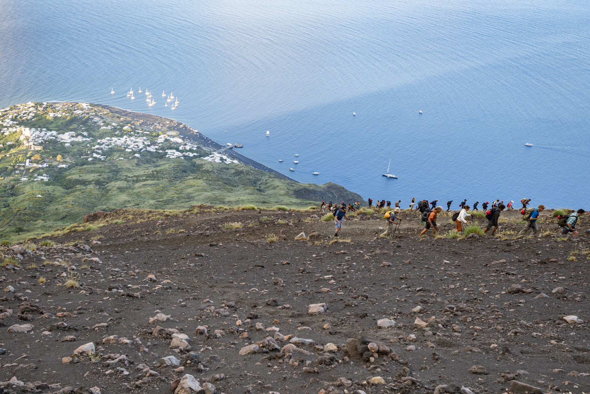 Hikers on Stromboli volcano