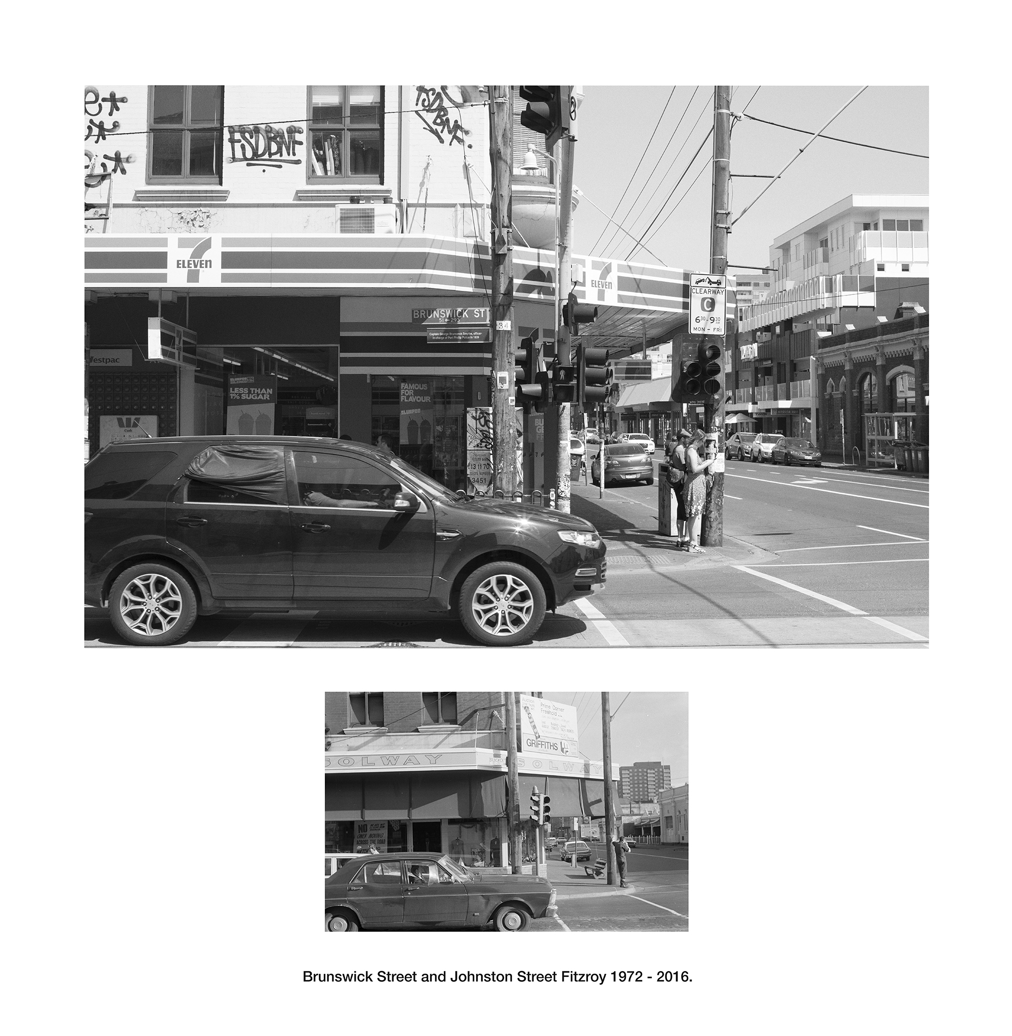 Brunswick Street and Johnston Street Fitzroy 1972 - 2016.