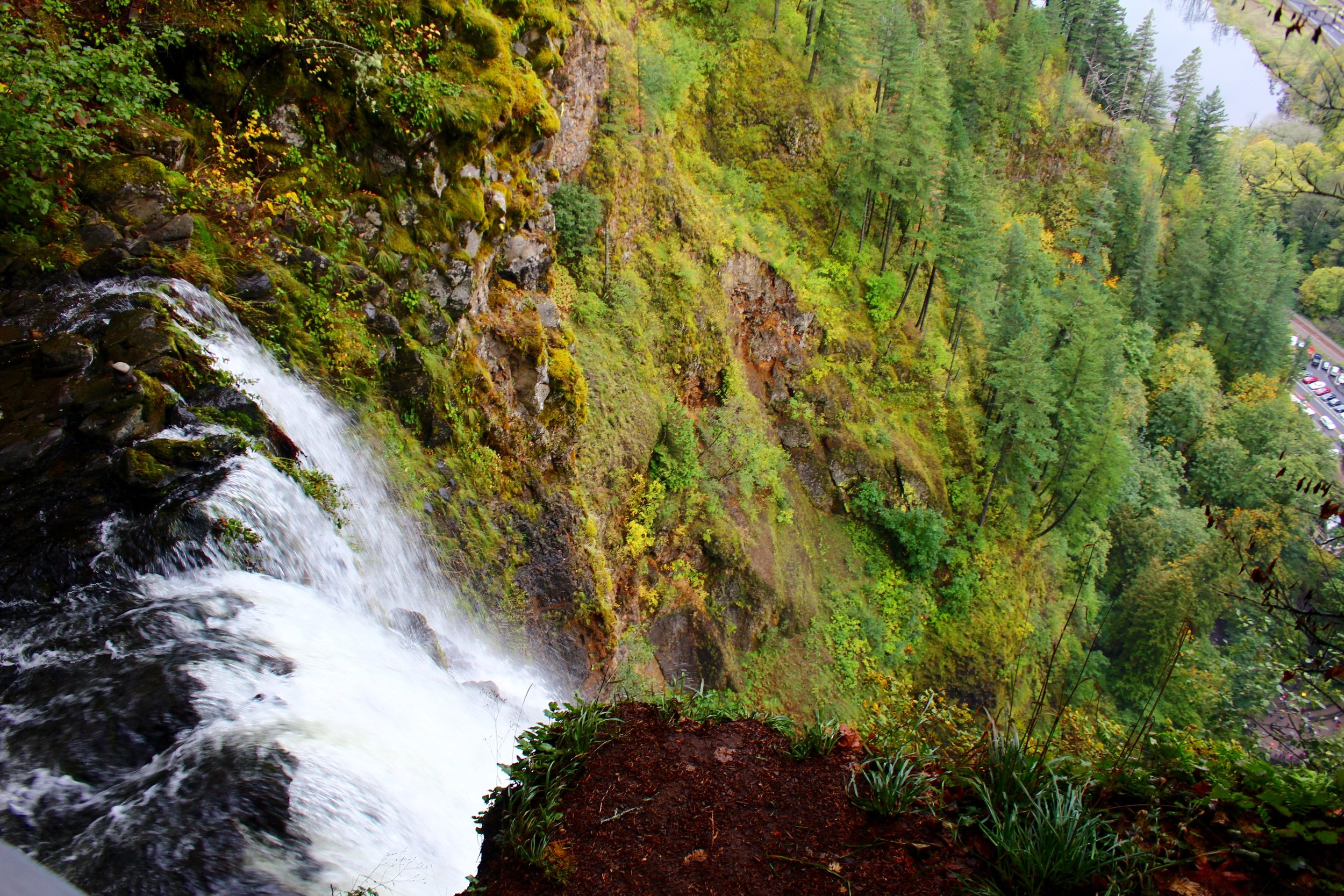 The view of the Columbia from the lookout point over one of the two Falls at Multnomah.