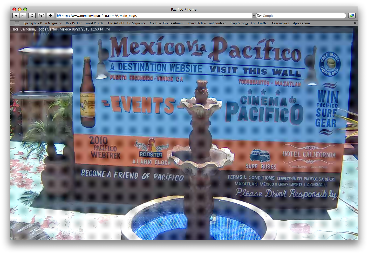 The world's first website where you could visit the homepage online and in real life.   Mexico via Pacifico destination website home page. Each page was an actual location. Using webcams and overlaying the UX, Each page was a clickable functional page but also a place you could actually visit.