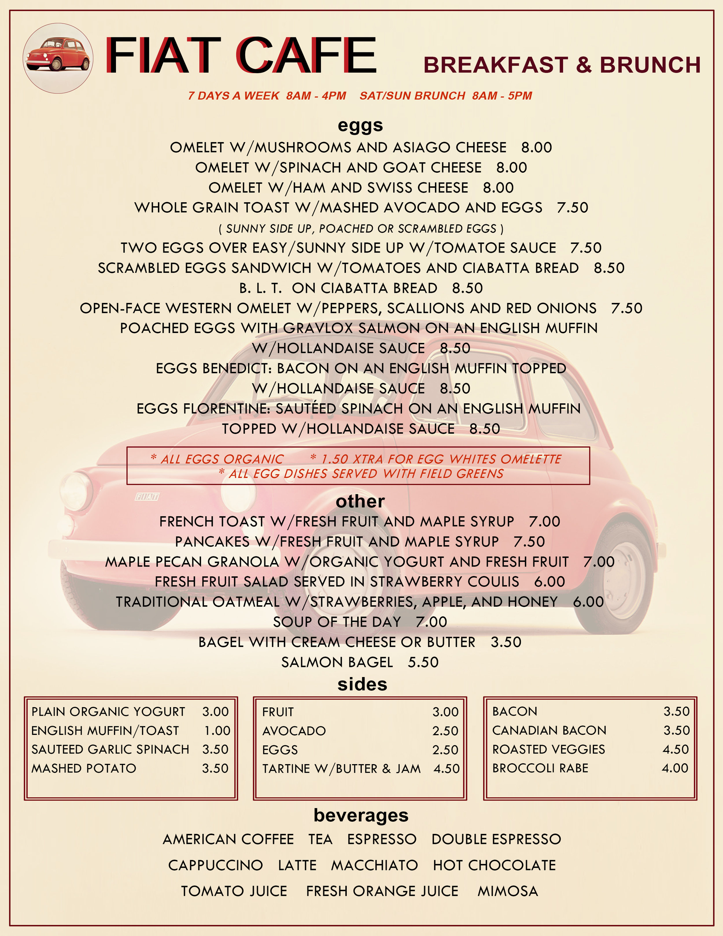 Breakfast/brunch menu layout and design for Fiat Cafe.