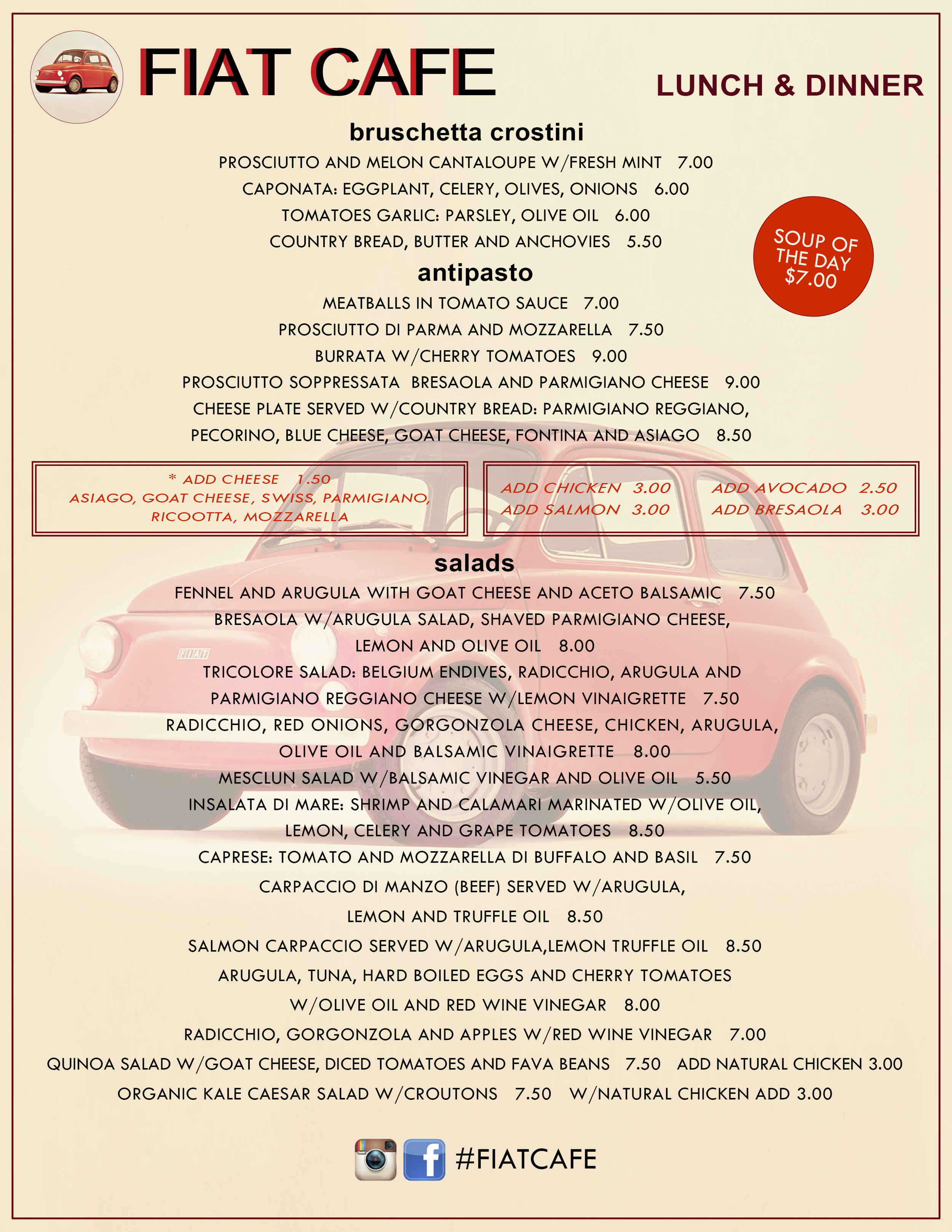 Lunch/dinner menu layout and design for Fiat Cafe.
