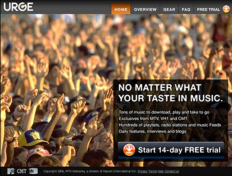 Photo sourcing and layout for MTV's Urge.com.