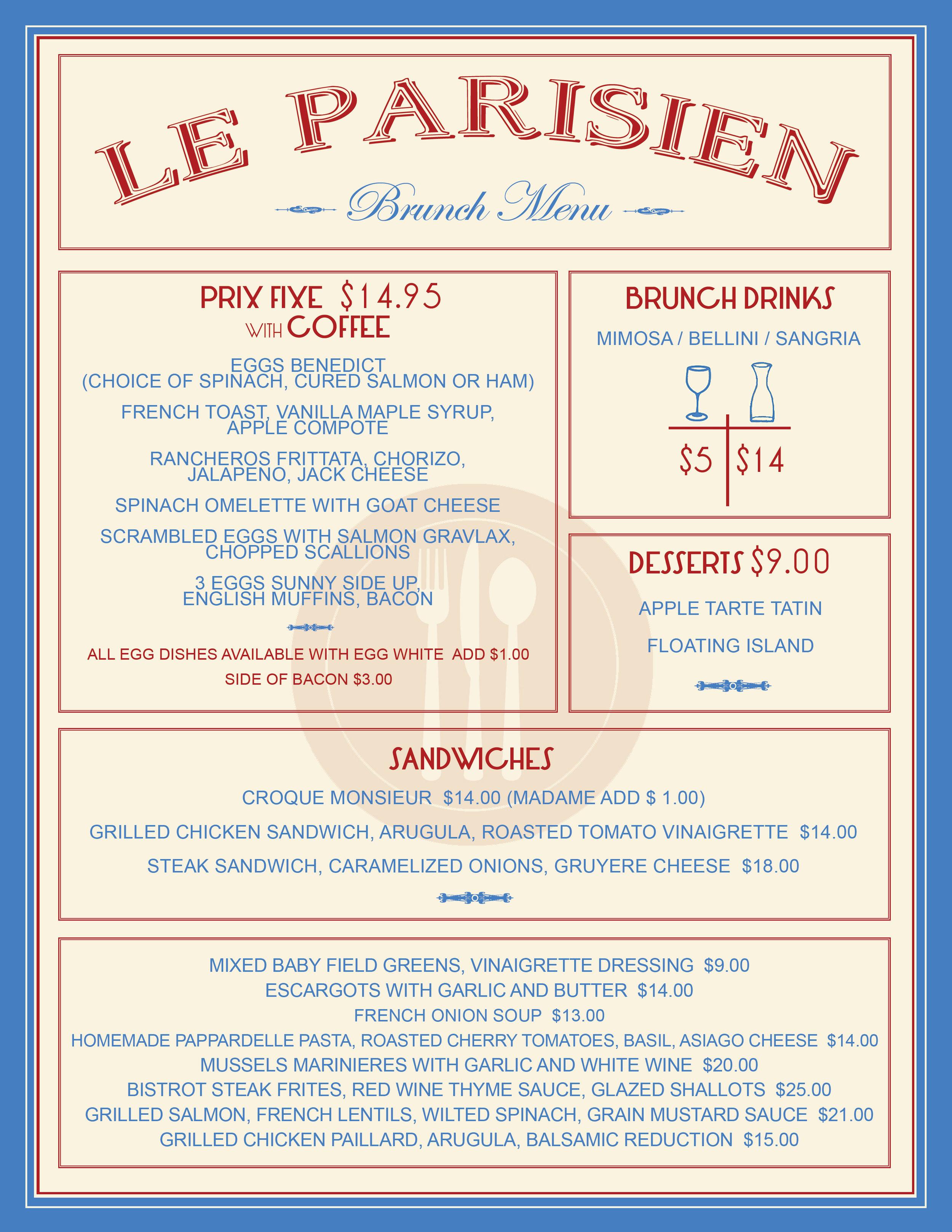 Brunch menu layout and design for Le Parisien Bistrot.