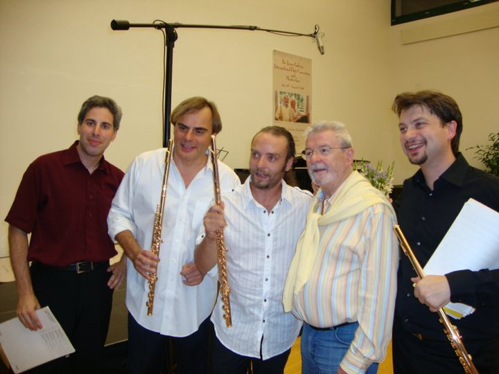 Lior Kretzer, Andrea Greminelli, Sir James Galway and Andrea Olivia